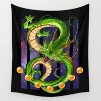 dragon ball z Wall Tapestries featuring Dragon by TxzDesign