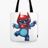 lilo and stitch Tote Bags featuring Stitch by WTFmoments