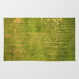 Green with Gold Script Rug