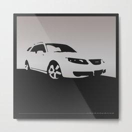 Saab 9-5 Aero, front view, gray on black Metal Print