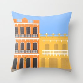 Colored Buildings in Getsemani, Colombia Throw Pillow