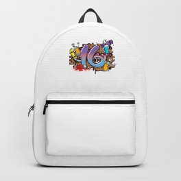Hiphop Dancer Graffiti Artist Typography 16th Birthday Hip Hop Urban Wall Mural Street Art Backpack