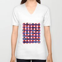 plaid V-neck T-shirts featuring Let's Plaid by Yaz Raja Designs