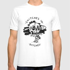Snitches In Ditches LARGE White Mens Fitted Tee