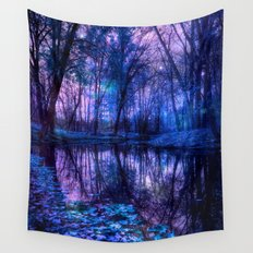 Enchanted Forest Lake Purple Blue Wall Tapestry