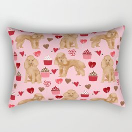 Toy Poodle apricot love cupcakes valentines day hearts dog breed pet portrait dog breeds poodles Rectangular Pillow