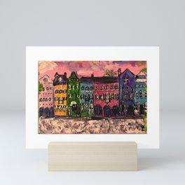Sunrise On Rainbow Row Charleston SC Mini Art Print