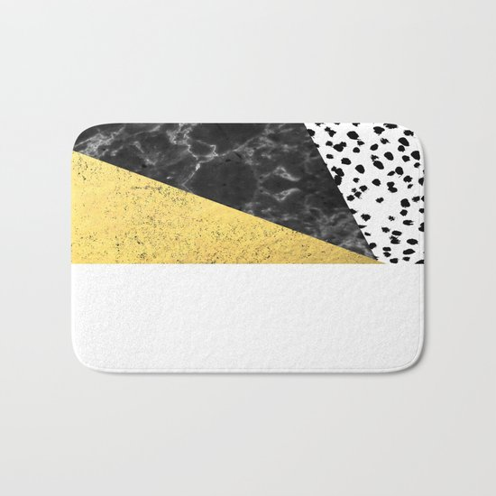 Mele - gold abstract painting art decor dorm college trendy hipster foil glitter black and white dot Bath Mat