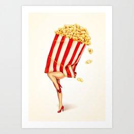 Popcorn Girl Art Print