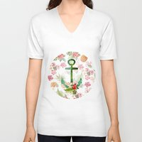 hawaii V-neck T-shirts featuring Hawaii Anchor by Crazy Cool Animals