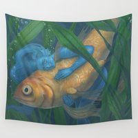 goldfish Wall Tapestries featuring Goldfish by Sara Meseguer