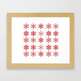 red snowflake seamless pattern Framed Art Print