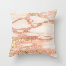 Marble - Rose Gold Shimmer Marble with Yellow Gold Glitter Throw Pillow