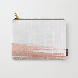 Rosegold brush strokes on white Carry-All Pouch