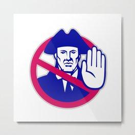 American Patriot Stop Sign Retro Metal Print