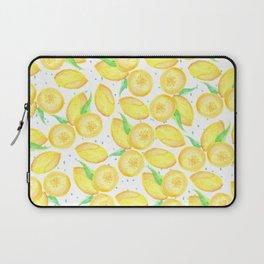 Sunshine yellow orange blue watercolor lemon fruit pattern Laptop Sleeve