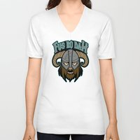 skyrim V-neck T-shirts featuring fus ro dah by Buby87