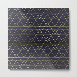 Modern Gold Navy Blue Metal Print