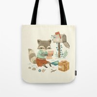 raccoon Tote Bags featuring Raccoon Post by Teagan White