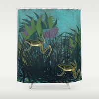 frog Shower Curtains featuring frog by giancarlo lunardon