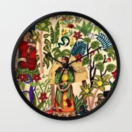 Frida's Garden, Casa Azul Lush Greenery Frida Kahlo Landscape Painting Wall Clock