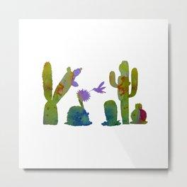 Cacti and a hummingbird Metal Print