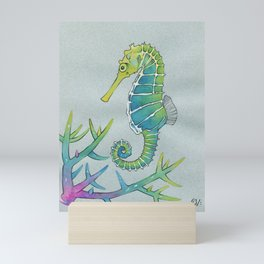 Neon Seahorse Mini Art Print