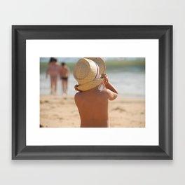 kid with hat color Framed Art Print