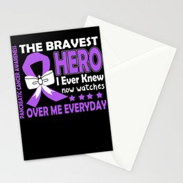 The bravest hero I Ever Knew Now Watches Over Me Everyday PANCREATIC CANCER Awareness Stationery Cards