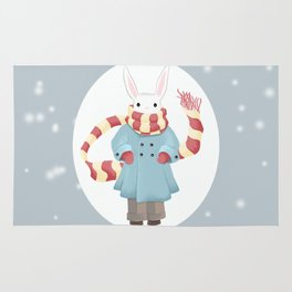 Bunny Brother Out On A Winter Day Rug