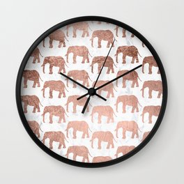 Modern faux rose gold elephants white marble Wall Clock