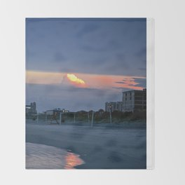 Cloudy Beach Reflection Throw Blanket