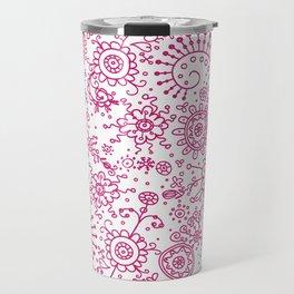 Graphic Ink Doodles (fuchsia) Travel Mug
