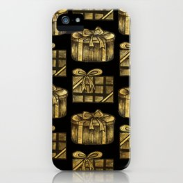Golden Christmas Present Decor iPhone Case