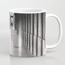 Arcade with columns in Copenhagen, architecture black and white photography Coffee Mug