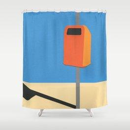 Orange Trash Can Shower Curtain