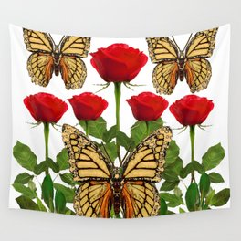 RED ROSES  & MONARCH BUTTERFLIES ART Wall Tapestry