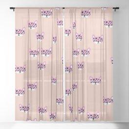 Little Wild Cats wanderlust girls pink Sheer Curtain