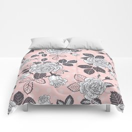 Pink Rose on Dots Comforters