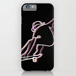 skater illustration, skateboard one liner outline drawing black iPhone Case