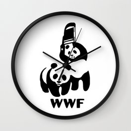 Panda Wrestling Wall Clock