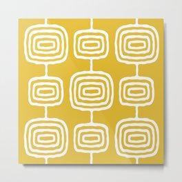 Mid Century Modern Atomic Rings Pattern 771 Mustard Yellow Metal Print