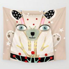 Bear 2018 polka Dots North Pole Snowing Stars Beige Cream Wall Tapestry