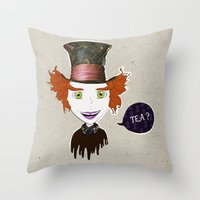 mad hatter Throw Pillows featuring Mad Hatter by Lourenço Santos