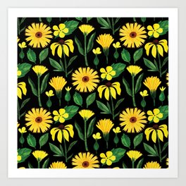 Sunshine yellow watercolor hand painted floral daisies Art Print