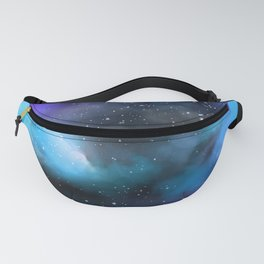 Navy Blue & Purple Glitter Cosmo Watercolor Galaxy Painting Fanny Pack