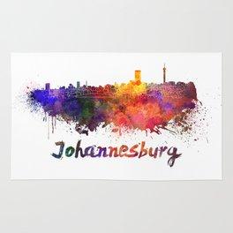 Johannesburg skyline in watercolor Rug