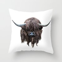 outlander Throw Pillows featuring Scottish Highland Cow by brodyquixote