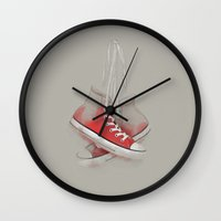 sneakers Wall Clocks featuring red sneakers by ivaDima