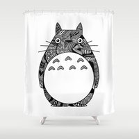 ghibli Shower Curtains featuring Ghibli Zentangle by Riaora Creations
